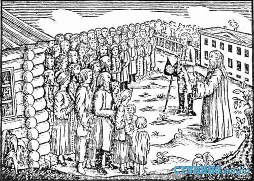 Крестьянский сход, рисунок XVIII в
